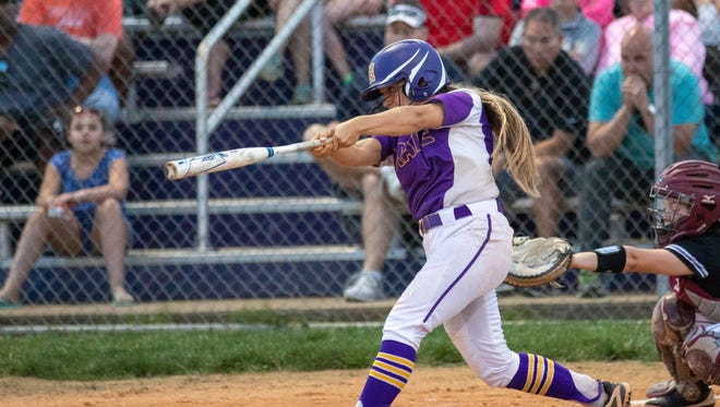 A second three-run home run of the game late in the 6th inning, Madison McCoy drives one over the fence. Male softball tops Ballard 5-3 Tuesday, May 8, 2018 in Louisville, Kentucky.