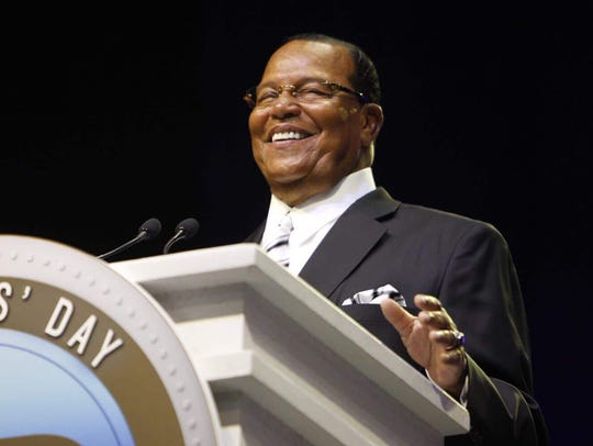 Minister Louis Farrakhan speaks to a packed crowd during