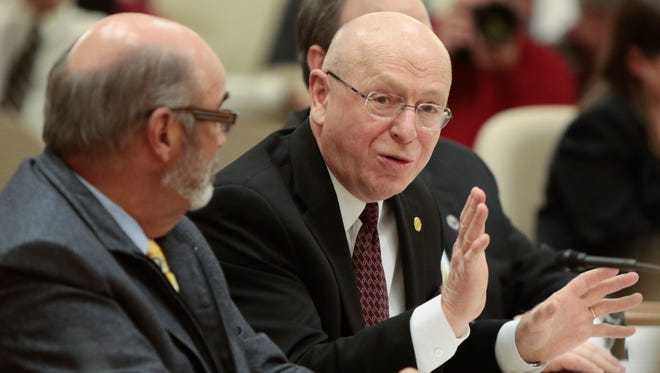 University of Wisconsin System president Ray Cross answers questions during state agency budget briefings for the Joint Committee on Finance at the State Capitol in Madison earlier this month.