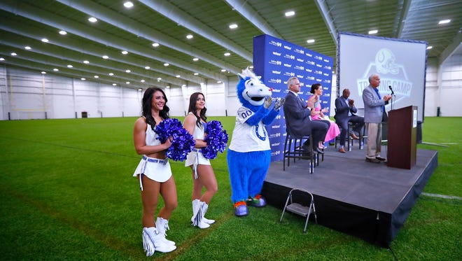 Westfield Mayor Andy Cook speaks during a press conference, Wednesday, June 13, 2018, announcing the 2018 Indianapolis Colts Training Camp schedule, at Grand Park Sports Campus in Westfield.  The new venue for camp will allow for the most fan-focused camp experience, for this 35th Colts season in Indiana.  This field will be the indoor field in the Grand Park Events Center will be used for practice during training camp.