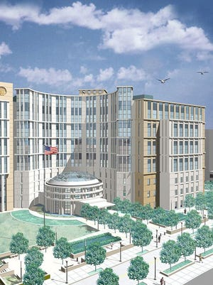 A previous design of the planned new Nashville federal courthouse