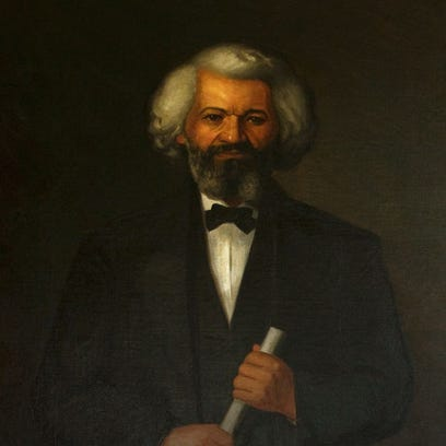 A portrait of Frederick Douglass as it appears in the