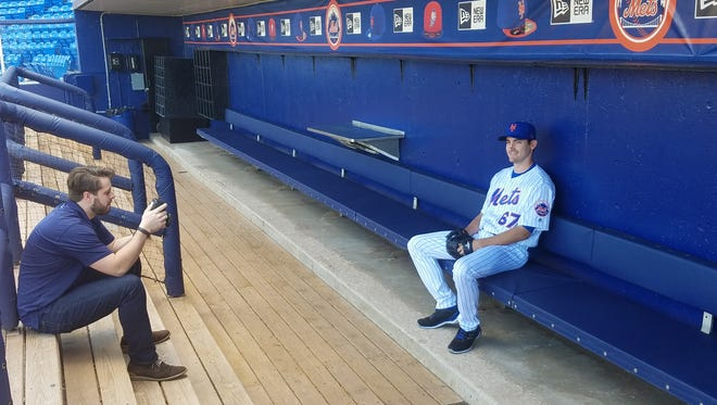 Seth Lugo's photo shoot at Tradition Field on Thursday.