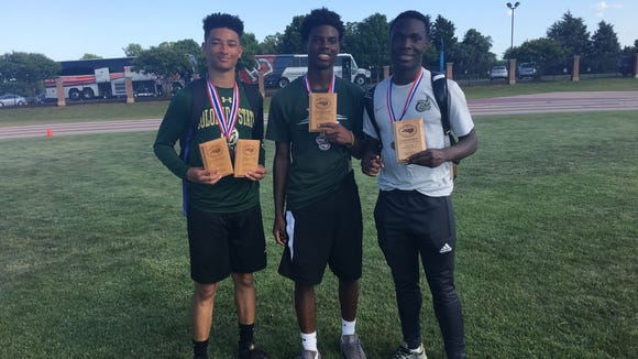 Christ School produced three individual state champions at last weekend's NCISAA 3-A track meet. From left to right, they are Kevin Snyder, Aydan White and Kokayi Cobb.