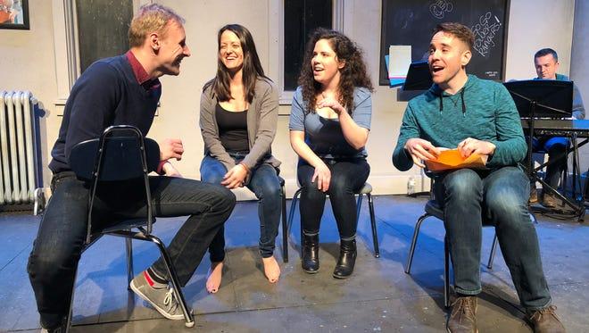"Matt Zeman (left), Amber Smith, Rachael Zientek and Doug Clemons try to create a new musical in ""[title of show]."""