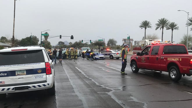 Six people were transported to the hospital following a multi-vehicle collision near 17th Avenue and Bethany Home Road on March 10, 2018.