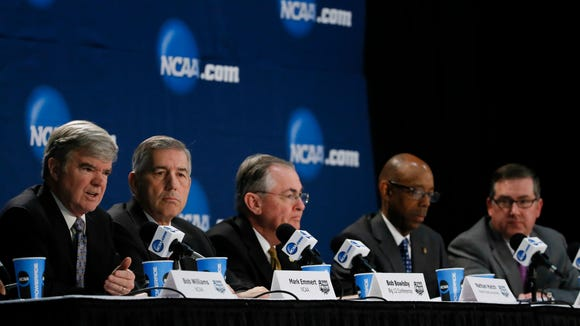 Apr 6, 2014; Arlington, TX, USA; NCAA president Mark Emmert, Big 12 commissioner Bob Bowlsby, Wake Forest president Nathan Hatch, California chancellor Michael Drake, and Kansas State president Kirk Schulz speak at a press conference before the national championship game between the Kentucky Wildcats and the Connecticut Huskies at AT&T Stadium. Mandatory Credit: Kevin Jairaj-USA TODAY Sports