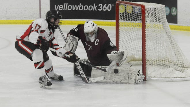 Clifton's goalie Tyler Gibson, right, and Lakeland's Andrew Heck, here meeting in the Passaic County Ice Hockey Tournament Final on Jan. 16, 2017, were both selected to First Team All-Passaic County for boys ice hockey.