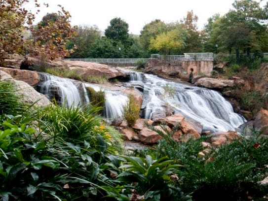 Falls at Falls Park on the Reedy River in Greenville.