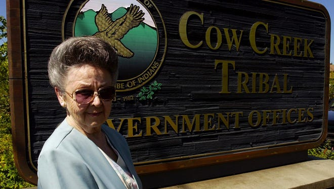 Sue Shaffer, chairwoman of Cow Creek Band of the Umpqua in Southwest Oregon, stands outside her office building in 2004.
