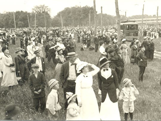 A crowd gathers in 1912 at what we know today as Dunn