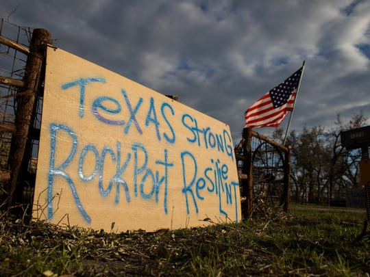 A sign in Rockport was on display after Hurricane Harvey made landfall along the Texas Gulf Coast.