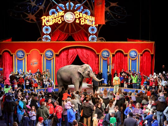 "Circus star ""Kelly Ann"" the elephant waves goodbye"