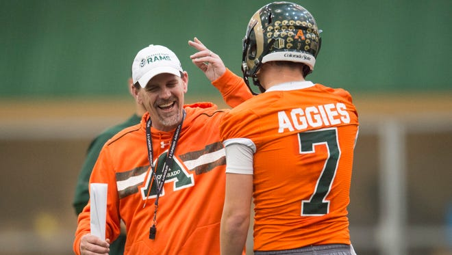 CSU coach Mike Bobo and quarterback Nick Stevens chat during a spring practice March 25. Coloradoan reporter Kelly Lyell took a behind-the-scenes look at the work coaches and players put in off the field to prepare for game day.