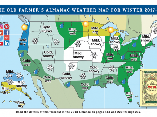 The Old Farmer's Almanac winter forecast puts the Tri-State