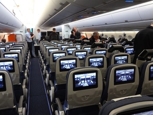 "The economy cabin on Airbus' flight-test A350 XWB ""MSN002."""