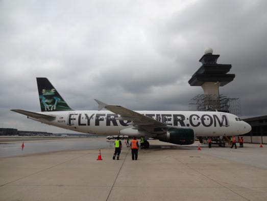 Frontier Flight 1337 from Minneaspolis/St. Paul marked Frontier's first arrival to Washington Dulles (Aug. 19, 2014).