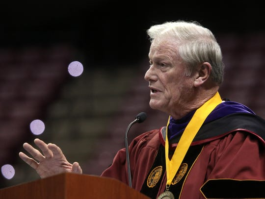 Florida State President John Thrasher was named the Tallahassee Democrat's Person of the Year for 2015.