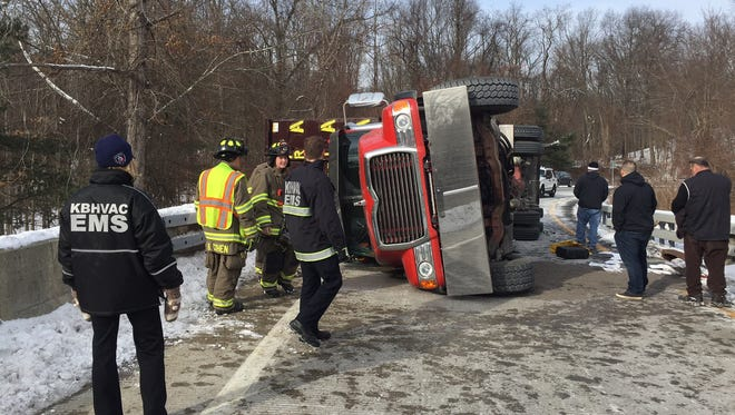 A truck rolled over on the Route 117 bypass in Bedford early Monday afternoon.
