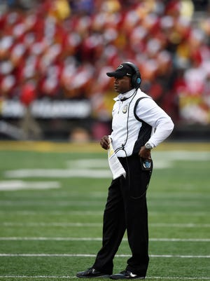 Purdue head coach Darrell Hazell stands on the sidelines during the fourth quarter against the Maryland Terrapins.