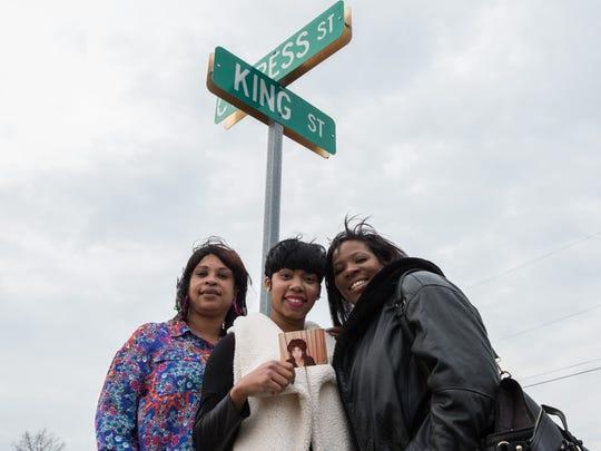Rhonda L. Bracy, left, E'Tiffany Jones, and Angela