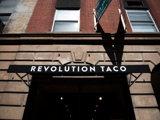 The storefront of Revolution Taco in Philadelphia.