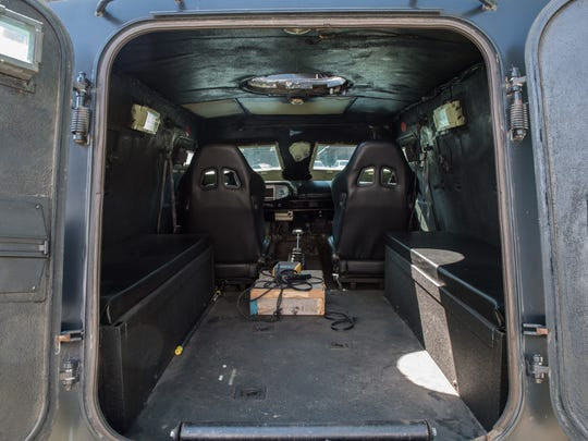 An interior view of Cadillac Gage Ranger Peacekeeper at the Salisbury Police Department on Monday, May 2, 2016.