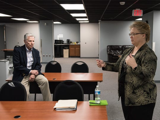 Richard Keenan, Chair of the board of trustees, and Executive Director, Andrea Berstler, talk about the many uses of the Entrepreneur Center at Wicomico Public Library on Monday, May 16, 2016.