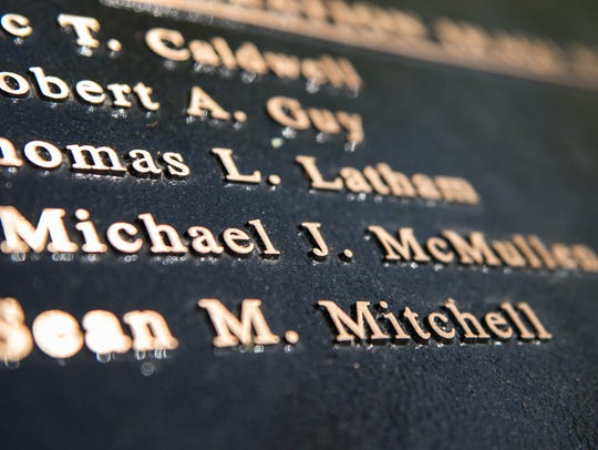 A view of Staff Sgt. Michael J. McMullen's name at