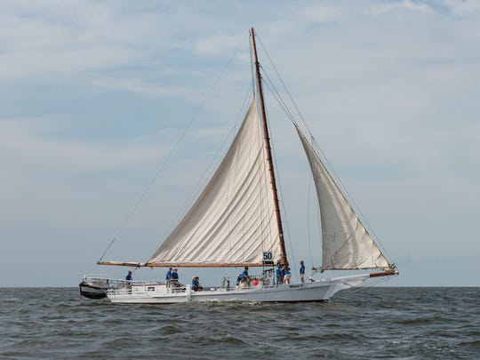Ralph Musthaler The Minnie V. skipjack sails through the Tangier Sound, a part of the Chesapeake Bay.