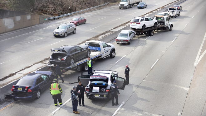 Route 21 southbound is shutdown at exit 11 for an accident involving at least five vehicles in Passaic on Tuesday morning March 27, 2018.