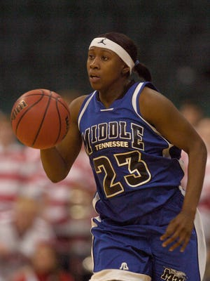MTSU women's basketball player Patrice Holmes will enter the Blue Raider Athletic Hall of Fame Saturday.