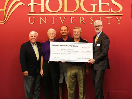Wounded Warriors of Collier County donated $25,000 to Hodges University's veterans scholarship program Tuesday, Jan. 24, 2017, at Hodges University