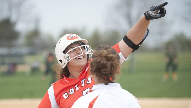 Cumberland's Haley Hulitt reacts after hitting a single during the 7th inning of April 19's win over Clearview. Hulitt and the Colts started this week with an upset of Kingsway and a blowout of Highland.