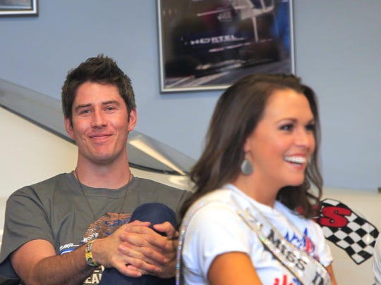 Arie Luyendyk Jr. and Miss Indiana USA Mekayla Diehl, Elkhart, were two of the celebrities participating in the Martin Plowman Celebrity Kart Race this month. Luyendyk will host The Race Party at Sensu Downtown on Friday.