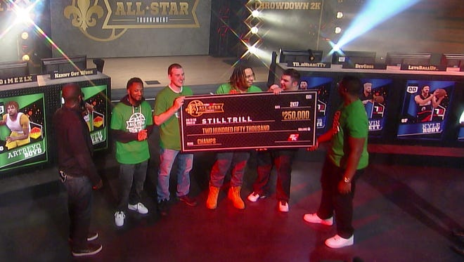 The winners of the NBA 2K17 All-Star Tournament receive their prize -- a $250,000 check.