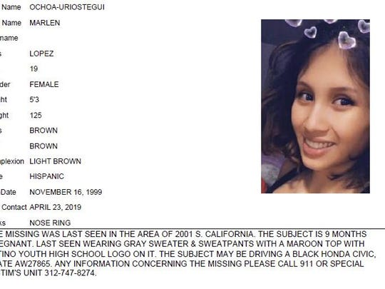 Chicago Police missing person flier for Marlen Ochoa-Uriostegui, who had gone to a Chicago home in response to a Facebook offer of free baby clothes, was strangled and her baby cut from her womb, police and family members said. (Chicago Police/Chicago Tribune via AP)