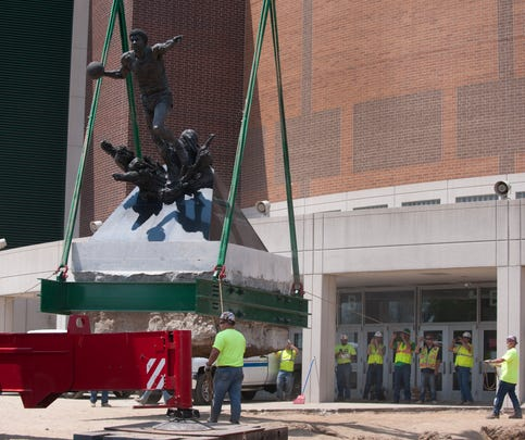 Photos: Magic Johnson statue moved