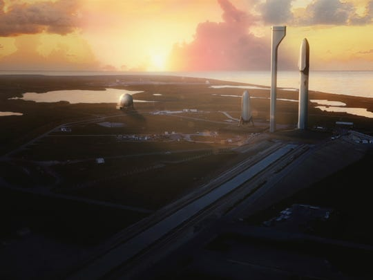 Artist concept of SpaceX's Interplanetary Transport System preparing to blast off on a Mars mission from Kennedy Space Center.