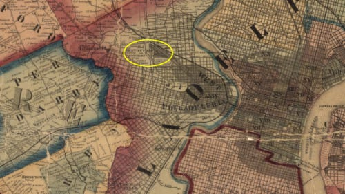 1860 map of West Philadelphia showing Hestonville (circled in yellow). The railside village was along the Lancaster Pike (today's Route 30) near Landsdowne Ave. and Westminster Ave.