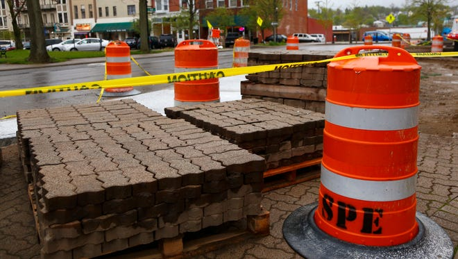 Work has commenced in downtown Mansfield to create new curb ramps, adjust catch basins and manholes, along with repaving several streets. Much of the work will be done at night and is scheduled to be completed by June 3, according to the city engineer.