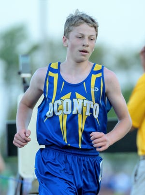Oconto's Josh Woller competes at the Division 2 Sectional meet at Freedom on May 24. He took first place in the 3200m at the Division 2 Regional in Clintonville on May 21.