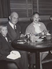 Russell White Hamilton, his grandfather Russell White, Mrs. L. O. Hamilton (White's daughter) Mrs. Russell White and Lucius O. Hamilton (the White's son-in-law). 1955 at the Brown Derby in Hollywood.