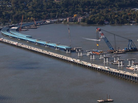 Girders stretch out from the Rockland County shore