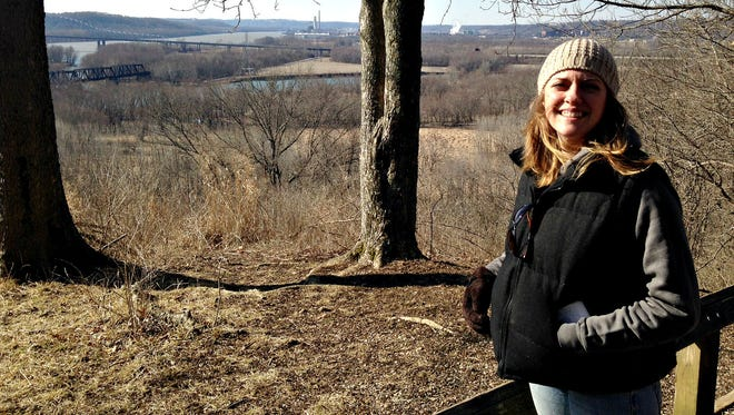 Me, Carrie Blackmore Smith, standing before one of the best vistas in Shawnee Lookout.