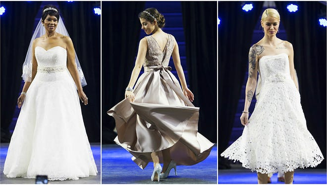 The latest bridal fashions were featured Sunday at the Southwest Florida Bridal Show at the Suncoast Credit Union Arena at Florida Southwestern State College in south Fort Myers. Vendors from throughout Florida showcased dresses, tuxedos, photography, cakes and other services.