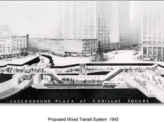 A 1945 proposal to build a subway-bus depot under Campus Martius in downtown Detroit