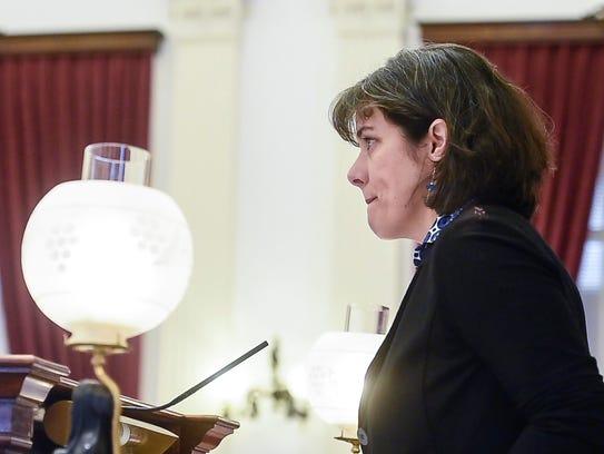 Speaker of the House Mitzi Johnson, D-South Hero, presides