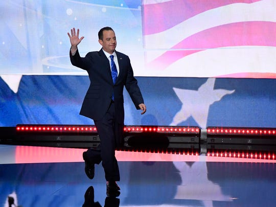 Republican National Committee Chairman Reince Priebus walks on stage during the Republican National Convention in Cleveland on July 21, 2016.