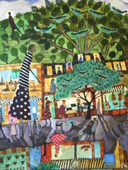 """""""Main Street"""" by Donald Saaf will be among the works on display through Oct. 9 at the Kent Museum in Calais."""